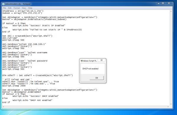 VBScript Restart Modem script help